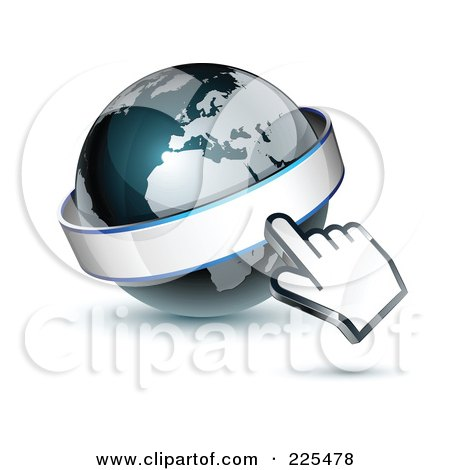 Royalty-Free (RF) Clipart Illustration of a 3d Computer Cursor Hand Pointing At A Banner On A Gray And Dark Blue African Globe by beboy