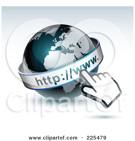 Royalty-Free (RF) Clipart Illustration of a 3d Computer Cursor Hand Pointing At A Gray And Dark Blue African WWW Globe by beboy