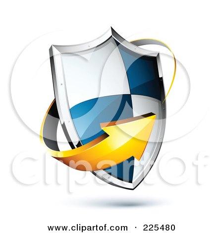 Royalty-Free (RF) Clipart Illustration of a 3d Orange Arrow