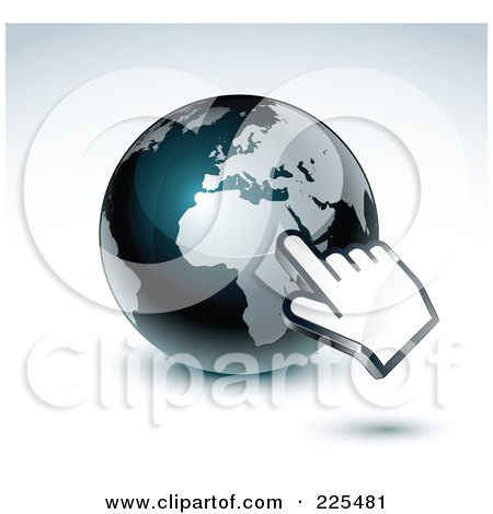 Royalty-Free (RF) Clipart Illustration of a 3d Hand Computer Cursor Pointing At A Gray And Dark Blue African Globe by beboy