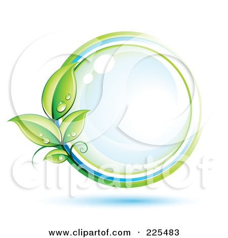 Royalty-Free (RF) Clipart Illustration of a 3d Blue Shiny Sphere With White, Blue And Green Lines And Dewy Leaves by beboy
