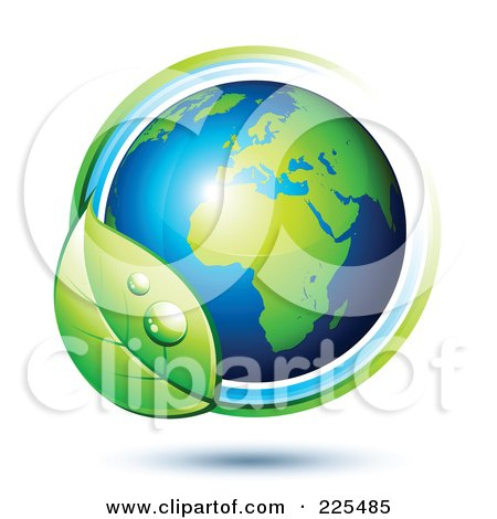 Royalty-Free (RF) Clipart Illustration of a 3d Shiny Green And Blue African Globe Circled With Blue And Green Lines And A Dewy Leaf by beboy