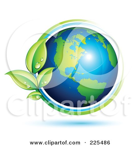 Royalty-Free (RF) Clipart Illustration of a 3d Shiny Green And Blue American Globe Circled With Blue And Green Lines And Dewy Leaves by beboy