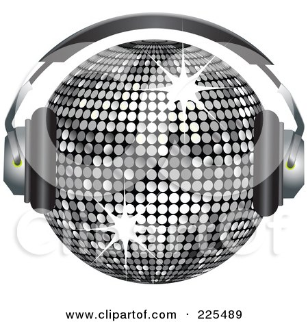 Royalty-Free (RF) Clipart Illustration of a 3d Silver Disco Ball Wearing Headphones by elaineitalia