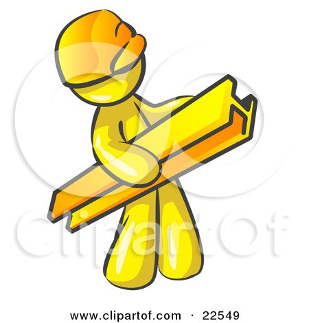 Clipart Illustration of a Yellow Man Construction Worker Wearing A Hardhat And Carrying A Beam At A Work Site by Leo Blanchette