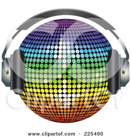 Royalty-Free (RF) Clipart Illustration of a 3d Rainbow Colored Disco Ball Wearing Headphones by elaineitalia