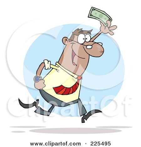 Royalty-Free (RF) Clipart Illustration of a Happy Black Businessman Running And Holding Up Cash by Hit Toon