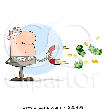 Royalty-Free (RF) Clipart Illustration of a White Businessman Collecting Cash With A Money Magnet by Hit Toon