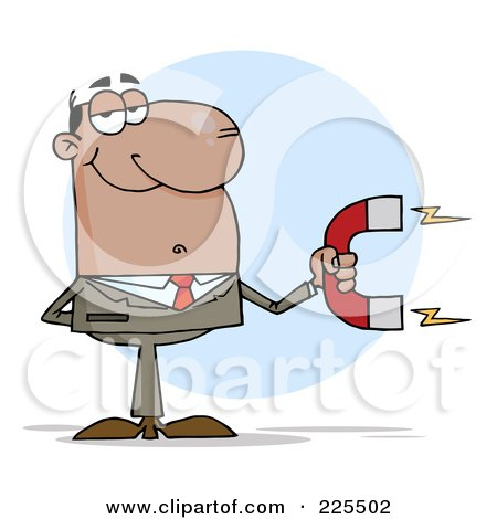 Royalty-Free (RF) Clipart Illustration of a Black Businessman Holding A Strong Magnet by Hit Toon