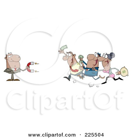 Royalty-Free (RF) Clipart Illustration of a Group Of Hispanic People Racing Towards A Hispanic Businessman With A Money Magnet, by Hit Toon