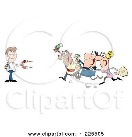 Royalty-Free (RF) Clipart Illustration of People Running Towards A Caucasian Man With A Money Magnet by Hit Toon