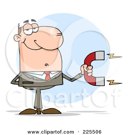 Royalty-Free (RF) Clipart Illustration of a White Businessman Holding A Strong Magnet by Hit Toon