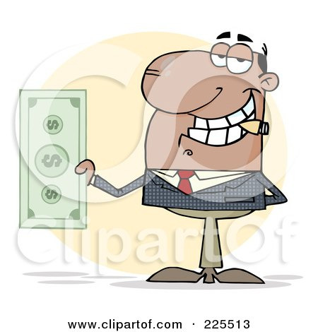 Royalty-Free (RF) Clipart Illustration of a Hispanic Businessman Smoking A Cigar And Holding Cash by Hit Toon