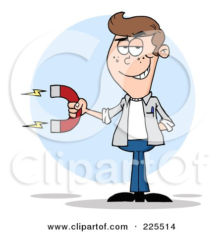 Royalty-Free (RF) Clipart Illustration of a Young White Man Holding A Strong Magnet by Hit Toon