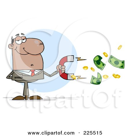 Royalty-Free (RF) Clipart Illustration of a African American Businessman Collecting Cash With A Money Magnet by Hit Toon