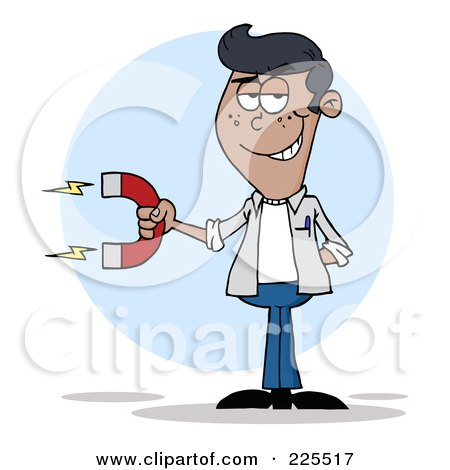Royalty-Free (RF) Clipart Illustration of a Young Black Man Holding A Strong Magnet by Hit Toon
