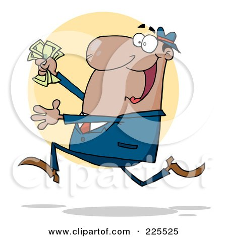 Royalty-Free (RF) Clipart Illustration of a Happy African American Businessman Running With Cash In Hand by Hit Toon