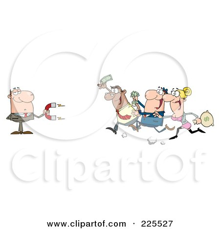 Royalty-Free (RF) Clipart Illustration of People Running Towards A Caucasian Businessman With A Money Magnet by Hit Toon