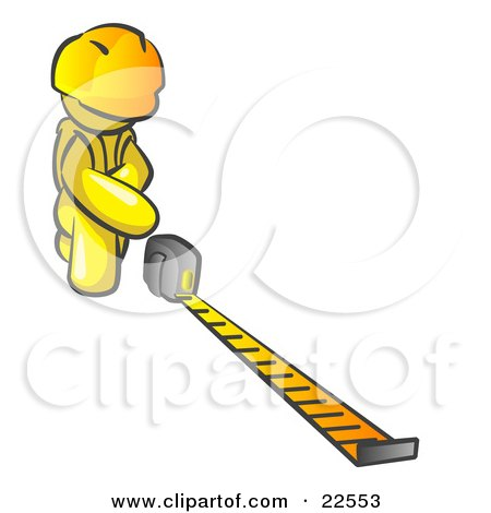 Clipart Illustration of a Yellow Man Contractor Wearing A Hardhat, Kneeling And Measuring by Leo Blanchette
