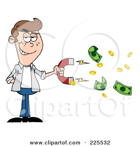 Royalty-Free (RF) Clipart Illustration of a Caucasian Man Collecting Cash With A Money Magnet by Hit Toon