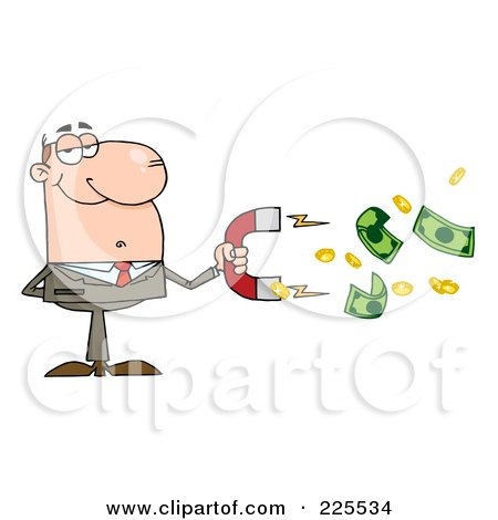 Royalty-Free (RF) Clipart Illustration of a Caucasian Businessman Collecting Cash With A Money Magnet by Hit Toon