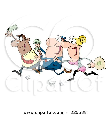 Royalty-Free (RF) Clipart Illustration of a Group Of Happy Consumers Running With Money In Hand by Hit Toon