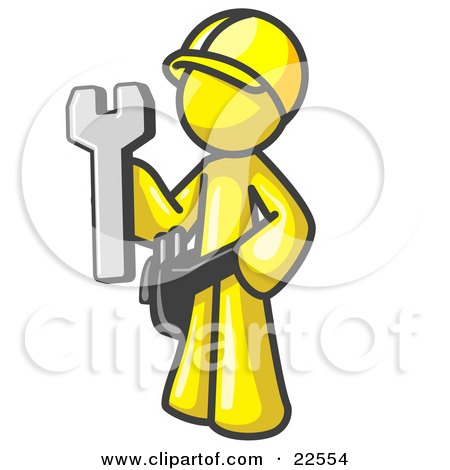 Clipart Illustration of a Proud Yellow Construction Worker Man in a Hardhat, Holding a Wrench Clipart Illustration by Leo Blanchette