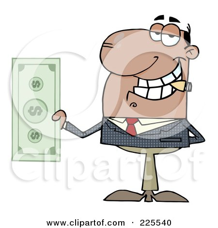 Royalty-Free (RF) Clipart Illustration of a Black Businessman Smoking A Cigar And Holding Cash by Hit Toon