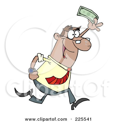 Royalty-Free (RF) Clipart Illustration of a Happy Hispanic Businessman Running And Holding Up Cash by Hit Toon