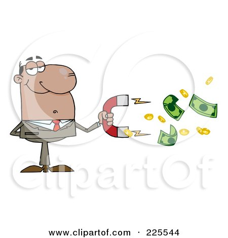 Royalty-Free (RF) Clipart Illustration of a Black Businessman Collecting Cash With A Money Magnet by Hit Toon