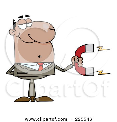 Royalty-Free (RF) Clipart Illustration of a Hispanic Businessman Holding A Strong Magnet by Hit Toon