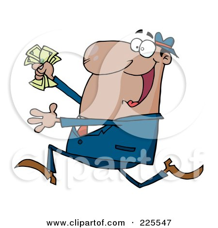 Royalty-Free (RF) Clipart Illustration of a Happy Hispanic Businessman Running With Cash In Hand by Hit Toon