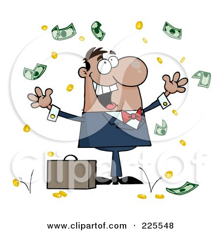 Royalty-Free (RF) Clipart Illustration of a Successful Hispanic Businessman Standing Under Falling Money by Hit Toon
