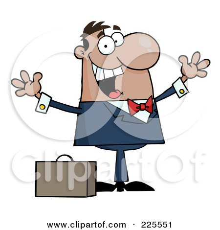 Royalty-Free (RF) Clipart Illustration of a Happy Black Businessman Holding His Arms Up By A Briefcase by Hit Toon