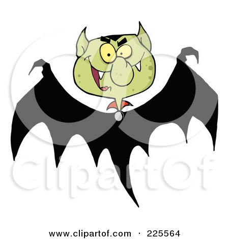 Royalty-Free (RF) Clipart Illustration of a Bat With A Green Vampire Head by Hit Toon