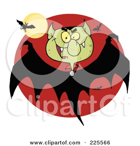 Royalty-Free (RF) Clipart Illustration of a Bat With A Vampire Head Over A Red Circle With A Full Moon by Hit Toon