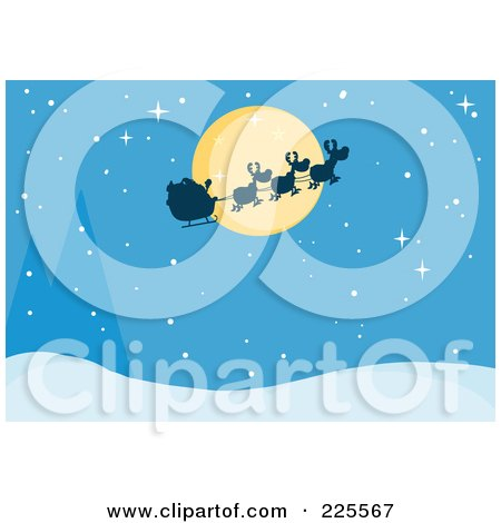 Royalty-Free (RF) Clipart Illustration of a Silhouette Of Santa And Flying Reindeer In Front Of A Full Moon Over A Blue Snowy Landscape by Hit Toon