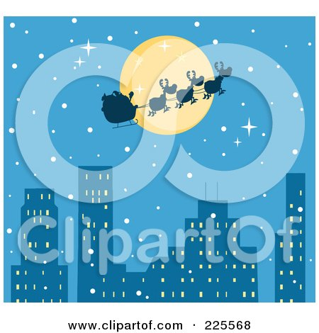 Royalty-Free (RF) Clipart Illustration of a Silhouette Of Santa And Magic Reindeer In Front Of A Full Moon Over A Blue City by Hit Toon