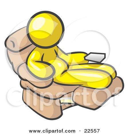 Clipart Illustration of a Chubby And Lazy Yellow Man With A Beer Belly, Sitting In A Recliner Chair With His Feet Up by Leo Blanchette