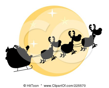 Royalty-Free (RF) Clipart Illustration of a Silhouette Of Santa And Magic Reindeer In Front Of A Full Yellow Moon by Hit Toon