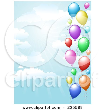 Royalty-Free (RF) Clipart Illustration of a Party Background Of Colorful Balloons In A Blue Sky With Rays Of Light And Clouds by KJ Pargeter