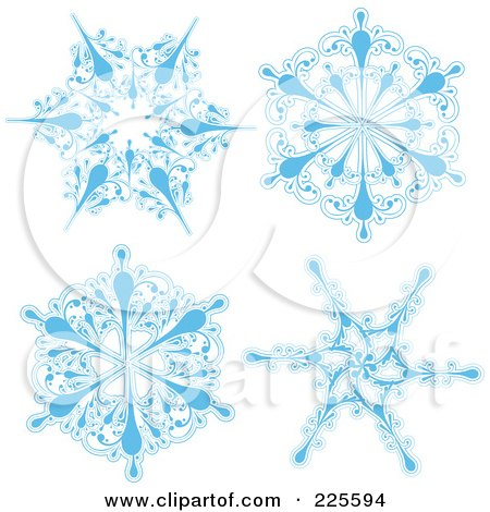 Royalty-Free (RF) Clipart Illustration of a Digital Collage Of Ornate Icy Blue And White Snowflake Design by KJ Pargeter