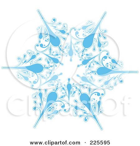 Royalty-Free (RF) Clipart Illustration of an Ornate Icy Blue And White Snowflake Design - 1 by KJ Pargeter