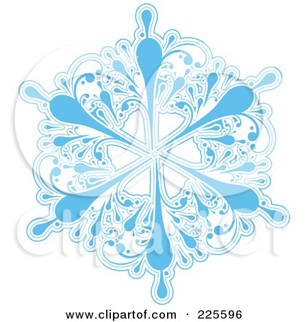 Royalty-Free (RF) Clipart Illustration of an Ornate Icy Blue And White Snowflake Design - 3 by KJ Pargeter