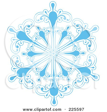 Royalty-Free (RF) Clipart Illustration of an Ornate Icy Blue And White Snowflake Design - 2 by KJ Pargeter
