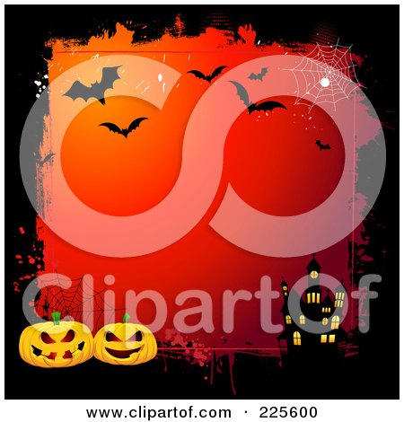 Royalty-Free (RF) Clipart Illustration of a Gradient Red Halloween Background With A Haunted House, Pumpkin And Bat Grungy Border by KJ Pargeter