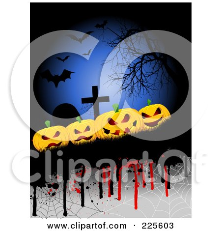 Royalty-Free (RF) Clipart Illustration of a Halloween Background Of Evil Pumpkins By Tombstones, With Drips, Webs, Bats And A Bare Tree by KJ Pargeter