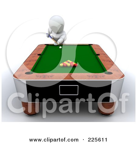 Royalty-Free (RF) Clipart Illustration of a 3d White Character Leaning Over A Pool Table by KJ Pargeter