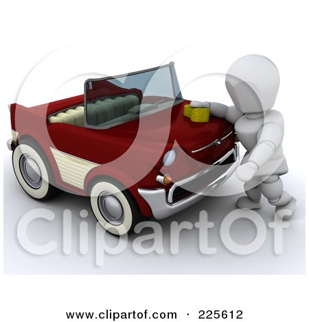 Royalty-Free (RF) Clipart Illustration of a 3d White Character Washing Or Waxing A Classic Converitble Car by KJ Pargeter