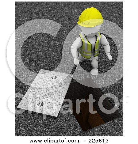 Royalty-Free (RF) Clipart Illustration of a 3d Construction Worker By A Manhole by KJ Pargeter